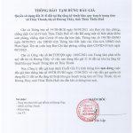 THÔNG BÁO TẠM DỪNG ĐẤU GIÁ – quyền sử dụng đất 21 lô đất tại Hạ tầng kỹ thuật khu quy hoạch trung tâm xã Thủy Thanh, thị xã Hương Thủy